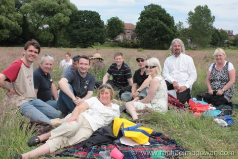 John, Cllr Norman Lewis, Cllr Victor Chamberlain and friends in the sun in Chorlton