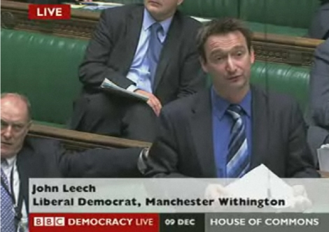 John Leech MP outlining his position against any rise in tuition fees