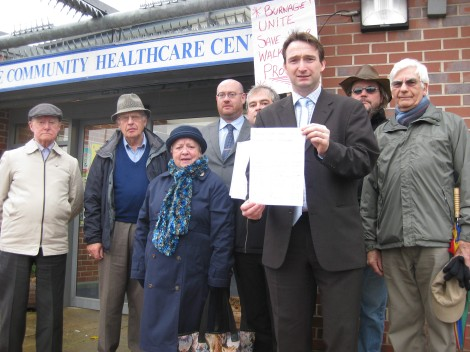 Campaigning against the closure of Burnage Walk In Centre with local residents and cllrs