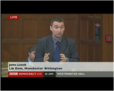 John Leech speaking in Westminster Hall on Library services in south Manchester