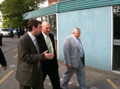 John Leech MP, Vince Cable MP and Dave Goddard at Holdsworth Mill