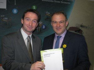 John with Ed Davey at the launch of the GM Energy Plan at Seimens.