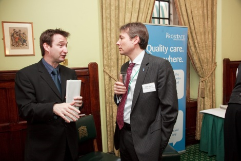 John and Prostate Cancer Charity Chief Owen Sharpe at a Cancer awareness event in the House of Commons