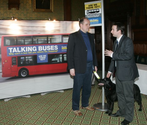 John Leech MP with John Welsman, Transport Policy Officer for Guide Dogs UK and guide dog Sorrel
