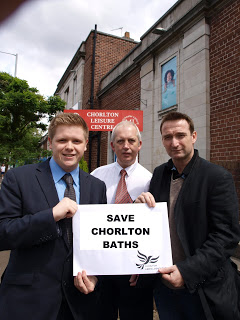 Victor, Matt Gallagher and John Leech MP outside Chorlton Baths