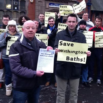 Simon and John and supporters outside Withington Baths