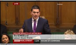 David Miliband in the recent debate on benefits uprating. John rebelled on this in parliament