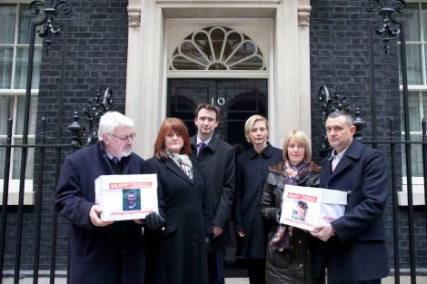 John with the Thornber's from Didsbury and the Lawton's outside 10 Downing Street today with a 52,000 signature petition.