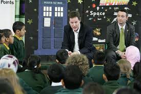 Nick with John visiting Mauldeth Road Primary