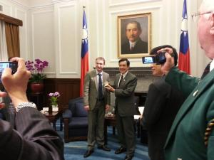 Meeting President Ma with Taiwanese media interest in our visit