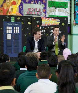 John Leech with Nick Clegg at Mauldeth Road Primary School