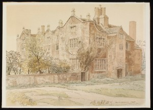 Hough End Hall painted in 1940 by Byron Dawson